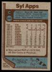1977 Topps #248  Syl Apps  Back Thumbnail