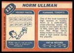 1968 Topps #131  Norm Ullman  Back Thumbnail