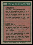 1975 Topps #192   -  Yogi Berra / Willie Mays 1954 MVPs Back Thumbnail