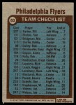 1977 Topps #83   Flyers Team Checklist Back Thumbnail