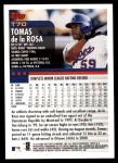2000 Topps Traded #70 T Tomas De La Rosa  Back Thumbnail