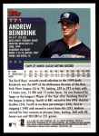 2000 Topps Traded #71 T Andrew Beinbrink  Back Thumbnail