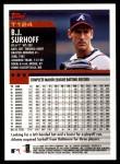 2000 Topps Traded #124 T B.J. Surhoff  Back Thumbnail