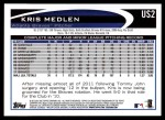 2012 Topps Update #2  Kris Medlen  Back Thumbnail
