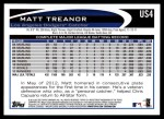 2012 Topps Update #4  Matt Treanor  Back Thumbnail