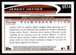 2012 Topps Update #14  Jeremy Hefner  Back Thumbnail