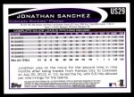 2012 Topps Update #29  Jonathan Sanchez  Back Thumbnail