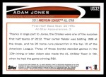2012 Topps Update #32  Adam Jones  Back Thumbnail