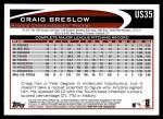 2012 Topps Update #35  Craig Breslow  Back Thumbnail