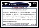 2012 Topps Update #37  Billy Butler  Back Thumbnail