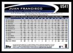 2012 Topps Update #41  Juan Francisco  Back Thumbnail