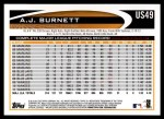 2012 Topps Update #49  A.J. Burnett  Back Thumbnail