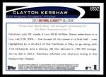 2012 Topps Update #52  Clayton Kershaw  Back Thumbnail