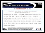 2012 Topps Update #52  Clayton Kershaw  Back Thumbnail