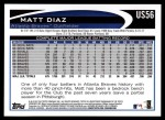 2012 Topps Update #56  Matt Diaz  Back Thumbnail