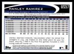 2012 Topps Update #57  Hanley Ramirez  Back Thumbnail