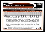 2012 Topps Update #58  Manny Acosta  Back Thumbnail