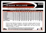 2012 Topps Update #59  Jerome Williams  Back Thumbnail
