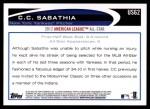 2012 Topps Update #62  CC Sabathia  Back Thumbnail