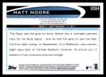 2012 Topps Update #64  Matt Moore  Back Thumbnail