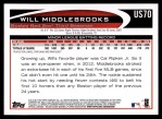 2012 Topps Update #70  Will Middlebrooks  Back Thumbnail