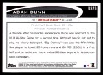 2012 Topps Update #76  Adam Dunn  Back Thumbnail