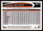 2012 Topps Update #77  Miguel Batista  Back Thumbnail