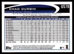 2012 Topps Update #78  Chad Durbin  Back Thumbnail