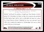 2012 Topps Update #80  Jered Weaver  Back Thumbnail