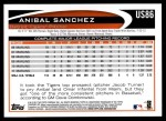 2012 Topps Update #86  Anibal Sanchez  Back Thumbnail