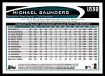 2012 Topps Update #90  Michael Saunders  Back Thumbnail