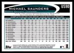 2012 Topps Update #90  Michael Saunders  Back Thumbnail