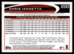 2012 Topps Update #93  Chris Iannetta  Back Thumbnail