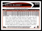 2012 Topps Update #94  Kevin Slowey  Back Thumbnail