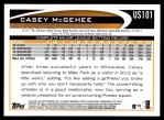 2012 Topps Update #101  Casey McGehee  Back Thumbnail