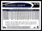 2012 Topps Update #102  Brandon League  Back Thumbnail