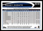 2012 Topps Update #107  Randy Choate  Back Thumbnail