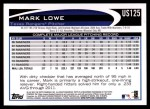 2012 Topps Update #125  Mark Lowe  Back Thumbnail