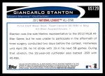 2012 Topps Update #129  Giancarlo Stanton  Back Thumbnail