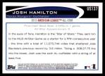 2012 Topps Update #137  Josh Hamilton  Back Thumbnail