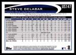 2012 Topps Update #147  Steve Delabar  Back Thumbnail