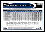 2012 Topps Update #154  Giancarlo Stanton  Back Thumbnail