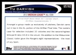2012 Topps Update #162  Yu Darvish  Back Thumbnail