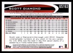 2012 Topps Update #163  Scott Diamond  Back Thumbnail