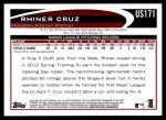 2012 Topps Update #171  Rhiner Cruz  Back Thumbnail