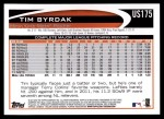 2012 Topps Update #175  Tim Byrdak  Back Thumbnail