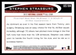 2012 Topps Update #184  Stephen Strasburg  Back Thumbnail