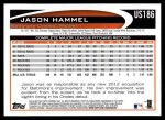 2012 Topps Update #186  Jason Hammel  Back Thumbnail
