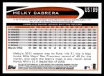 2012 Topps Update #189  Melky Cabrera  Back Thumbnail