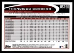 2012 Topps Update #190  Francisco Cordero  Back Thumbnail